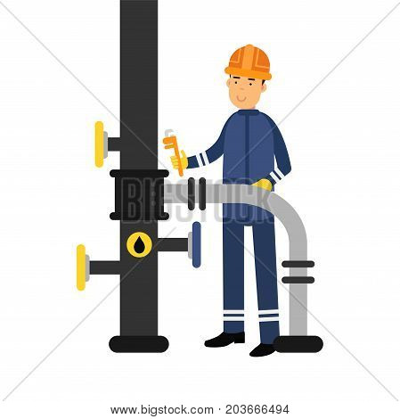Oilman character in a blue uniform working on an oil pipeline with monkey wrench, oil industry production vector Illustration on a white background