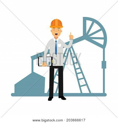 Engineer of oil industry character standing next to an oil rig drilling platform talking and showing hand gesture with a raised index finger vector illustration on a white background.