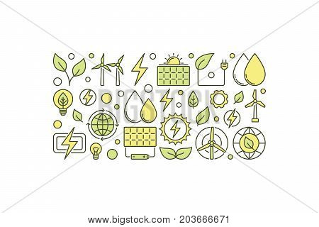 Eco energy creative illustration. Vector clean green energy concept banner on white background