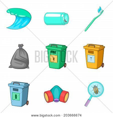 Garbage type icon set. Cartoon set of 9 garbage type vector icons for web design isolated on white background