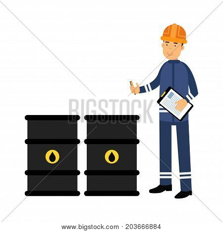 Oilman character in a blue uniform controlling the process of oil production and transportation vector Illustration on a white background
