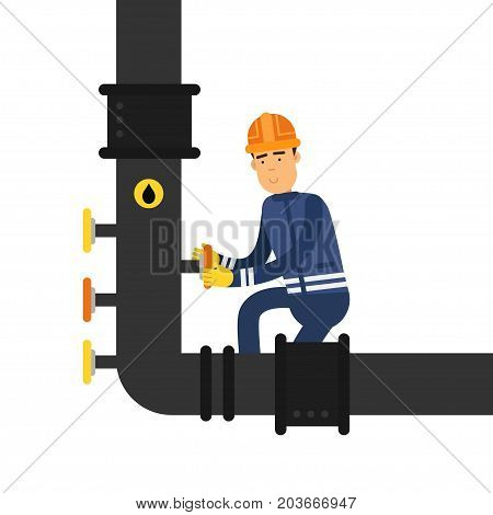 Oilman character in a blue uniform working on an oil pipeline, oil industry production vector Illustration on a white background