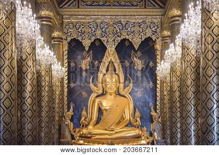 Buddha Chinarat Is a sculpture The most beautiful Set at Wat Phra Sri Mahathat (Wat Yai) Phitsanulok Thailand.The temple is famous for its gold-covered statue of the Buddha known as Phra Phuttha Chinnarat It is consider one of the most beautiful Buddha fi