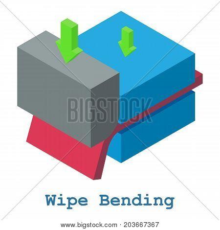 Wipe bending metalwork icon. Isometric illustration of wipe bending metalwork vector icon for web