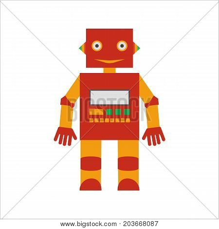 Vector illustration. Mechanical smiling cartoon yellow red robot with the control panel. Colorful icon in the flat style.