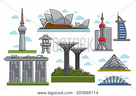 Famous modern futuristic landmarks isolated cartoon vector illustrations set on white background. Tall skyscrapers, popular public places, multitask towers and spacious hotels of unusual shape.