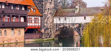 Icon city view banner of Nuremberg, Germany with half-timbered house and bridge in Bavaria