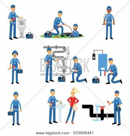 Professional plumber at work set, plumbing service vector Illustrations on a white background