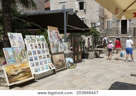 BUDVA, MONTENEGRO - AUGUST 08, 2017:On the streets of the old town of Budva Montenegro