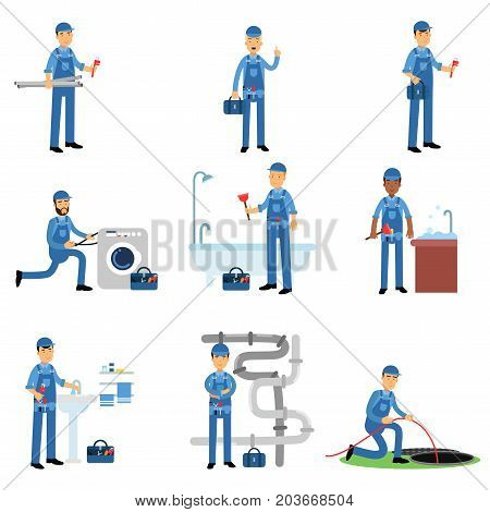 Professional plumber in blue uniform at work set, plumbing service vector Illustrations on a white background