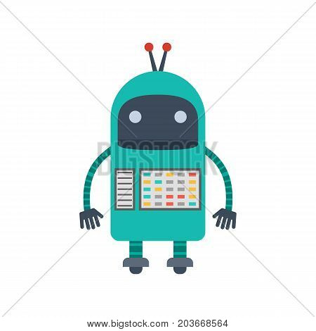 Vector illustration. Mechanical cartoon green robot with the control panel. Colorful icon in the flat style.