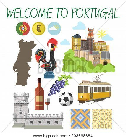 Welcome to Portugal travel poster of Lisbon and Porto famous tourist landmarks and attractions. Rooster symbol, Portuguese map and flag, yellow tram or tile and tower castle vector icons