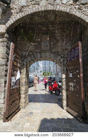 BUDVA, MONTENEGRO - AUGUST 08, 2017:Exit from the old city. Budva Montenegro.