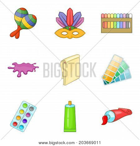 Easel icons set. Cartoon set of 9 easel vector icons for web isolated on white background
