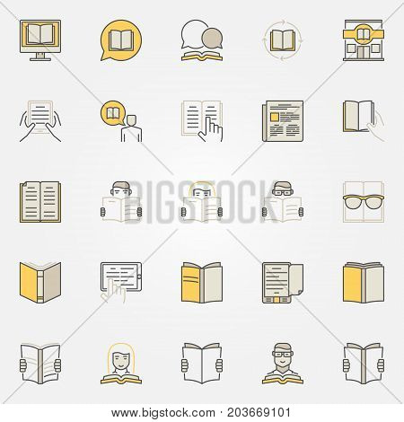 Reading colorful icons set. Vector collection of read or reading a book creative signs or logo elements
