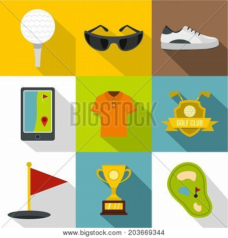 Golf tournament icon set. Flat style set of 9 golf tournament vector icons for web design