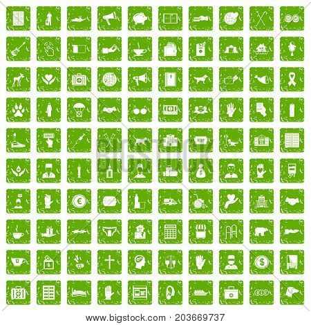 100 donation icons set in grunge style green color isolated on white background vector illustration
