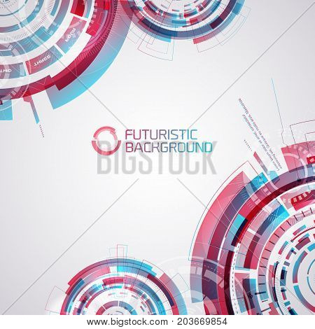 Modern virtual technology background with interactive touch panel elements decorative futuristic circles with gradient overlay vector illustration
