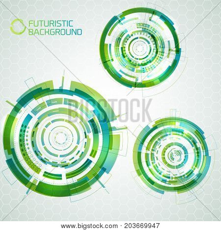 Modern virtual technology set of isolated touchable circles of different size and outline shapes futuristic background vector illustration