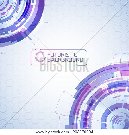 Modern virtual technology background with two quadrant parts of futuristic round touchscreen design elements and text title vector illustration