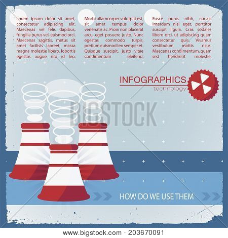 Usage of technology infographics with working chimneys on blue stripes on light textured background vector illustration