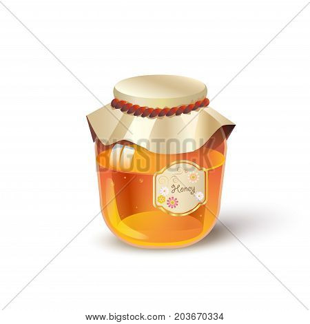 Honey jar isolated on white background. 3D Realistic Bee Honey glass jar honeycomb vector illustration. Gold Honey icon, banner, flyer, sweet dessert, tasty, healthy food, species. Jewish Holiday Rosh Hashana - New Year traditional symbol.