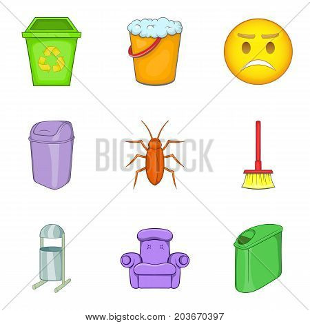 Garbage bins icon set. Cartoon set of 9 garbage bins vector icons for web design isolated on white background