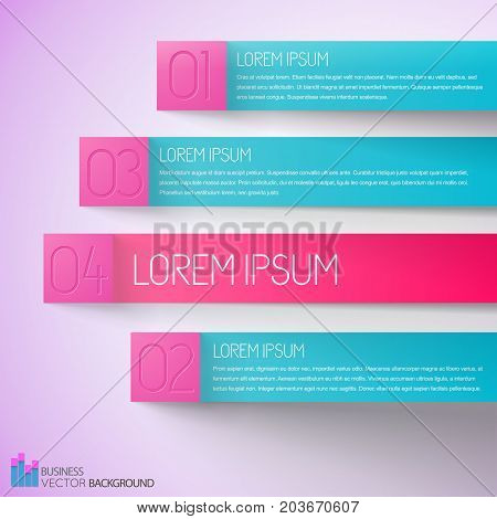 Choice business infographics with numbered horizontal stripes with text on pale pink background vector illustration