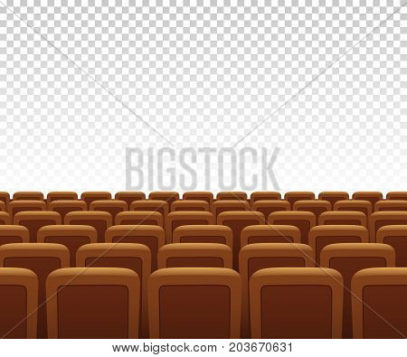 Yellow theatre armchairs on transparent background. Vector illustration.