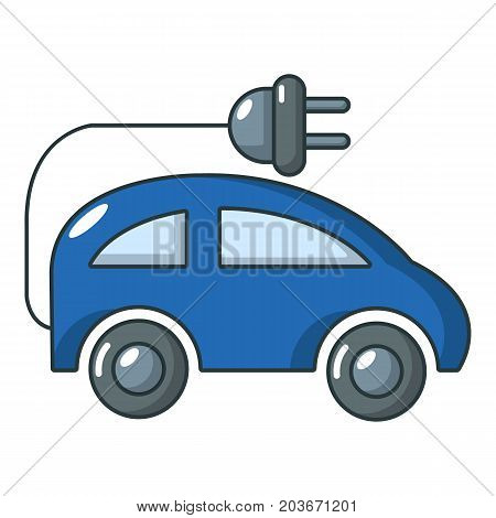 Electric car icon. Cartoon illustration of electric car vector icon for web