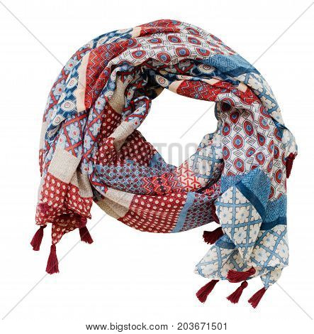 Twisted summer viscose scarf in red blue and white colors isolated on white background. Flat lay. Top view.