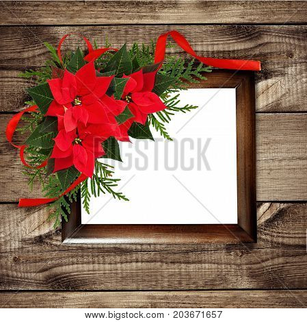 Christmas red poinsettia flowers corner arrangement with ribbon bow and rame on brown wooden background