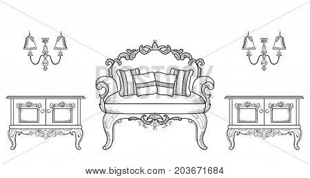 Armchair and commode table furniture with luxurious ornaments. Vector French Luxury rich intricate structure. Victorian Royal Style decors
