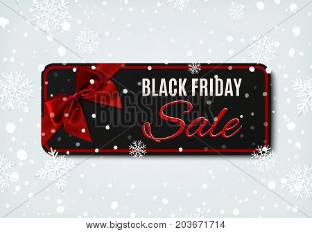 Black Friday sale banner with red ribbon and bow, on winter background with snow and snowflakes. Brochure, flyer or banner template.Vector illustration.
