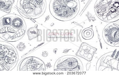 Elegant monochrome hand drawn background with traditional Asian food, detailed tasty meals and snacks of oriental cuisine - wok noodles, sashimi, gyoza, fish and seafood dishes. Vector illustration