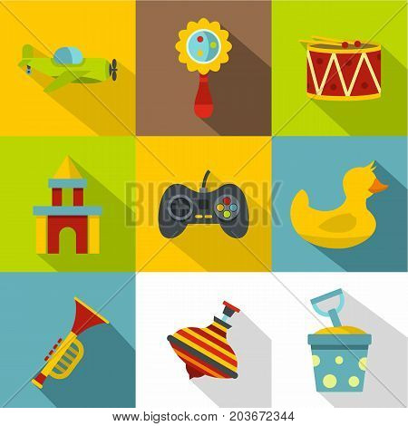 Toys variety icon set. Flat style set of 9 toys variety vector icons for web design