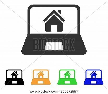 Home On Laptop Screen icon. Vector illustration style is a flat iconic home on laptop screen symbol with black, grey, green, blue, yellow color variants. Designed for web and software interfaces.