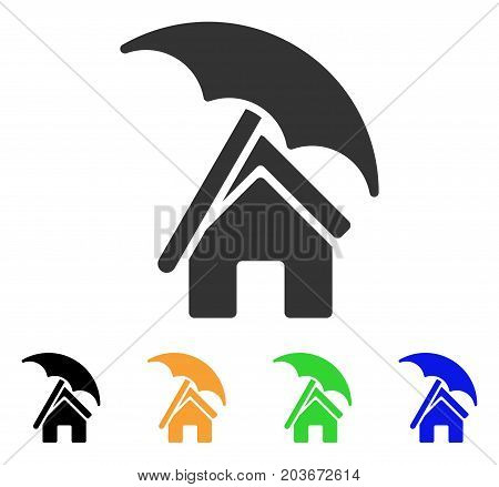 Home Under Umbrella icon. Vector illustration style is a flat iconic home under umbrella symbol with black, gray, green, blue, yellow color variants. Designed for web and software interfaces.
