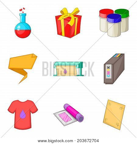 T-shirt design icons set. Cartoon set of 9 t-shirt design vector icons for web isolated on white background