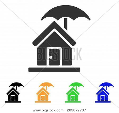 House Under Umbrella icon. Vector illustration style is a flat iconic house under umbrella symbol with black, grey, green, blue, yellow color variants. Designed for web and software interfaces.