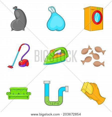Cleaning house service icon set. Cartoon set of 9 cleaning house service vector icons for web design isolated on white background