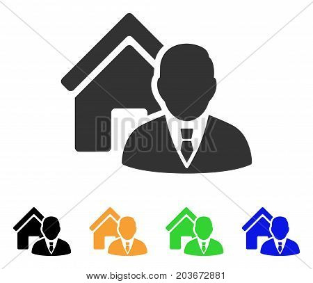 Realtor icon. Vector illustration style is a flat iconic realtor symbol with black, gray, green, blue, yellow color versions. Designed for web and software interfaces.