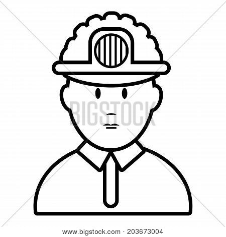Miner icon. Outline illustration of miner vector icon for web design isolated on white background