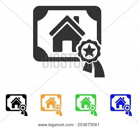 Realty Certification icon. Vector illustration style is a flat iconic realty certification symbol with black, grey, green, blue, yellow color versions. Designed for web and software interfaces.