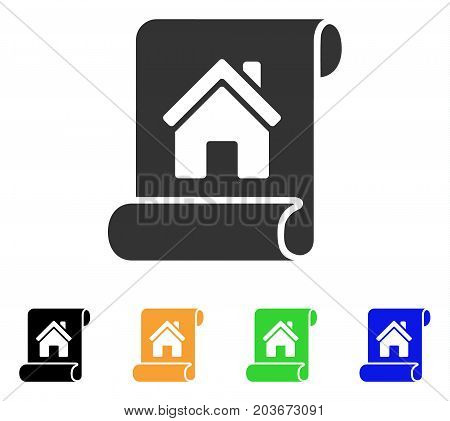 Realty Description Roll icon. Vector illustration style is a flat iconic realty description roll symbol with black, grey, green, blue, yellow color versions. Designed for web and software interfaces.