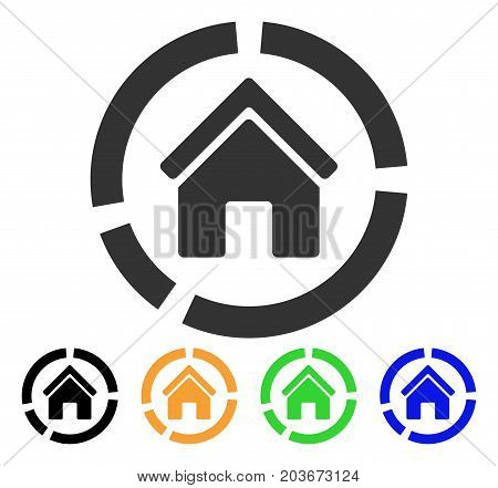 Realty Diagram icon. Vector illustration style is a flat iconic realty diagram symbol with black, grey, green, blue, yellow color variants. Designed for web and software interfaces.