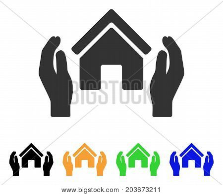 Realty Insurance Hands icon. Vector illustration style is a flat iconic realty insurance hands symbol with black, grey, green, blue, yellow color versions. Designed for web and software interfaces.