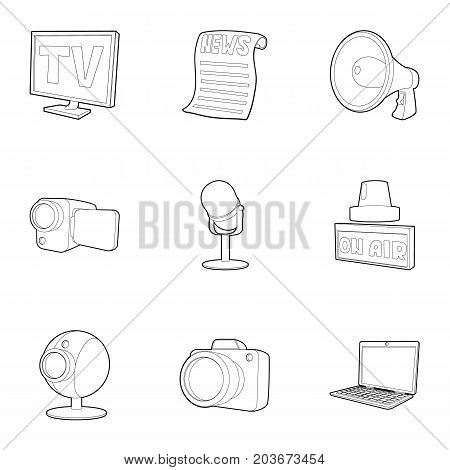 Spread information icons set. Outline set of 9 spread information vector icons for web isolated on white background