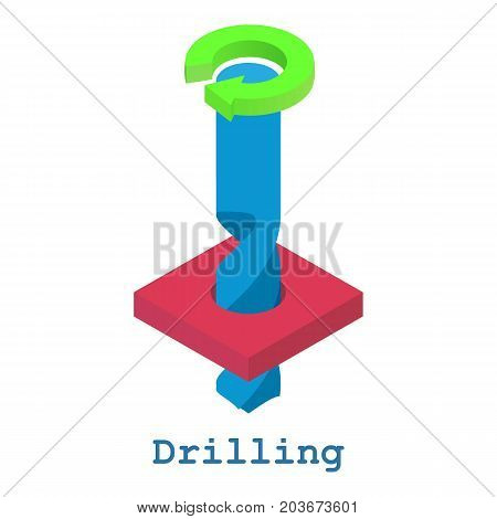 Drilling metalwork icon. Isometric illustration of drilling metalwork vector icon for web