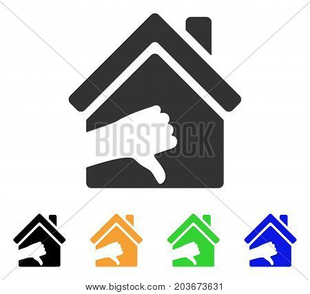 Terrible House icon. Vector illustration style is a flat iconic terrible house symbol with black, gray, green, blue, yellow color variants. Designed for web and software interfaces.